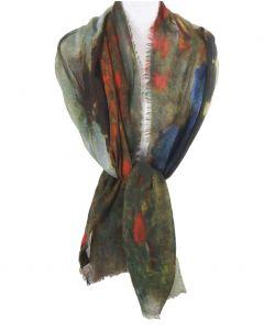 Wollen mousseline schilderij-sjaal met een afbeelding geschilderd door ''Claude Monet''