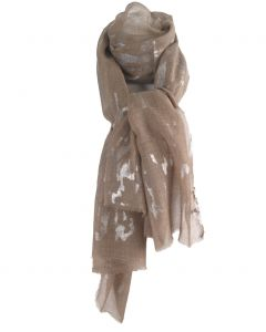 Beige wollen mousseline sjaal met zilveren vlokken