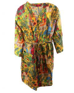 Okergele katoenen kimono met Frida Kahlo print
