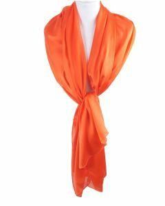 Oranje effen zijden sjaal/stola