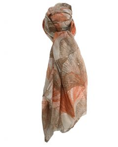 Sjaal met floral print in bruin en roest-oranje