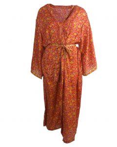 Lange rode zijden kimono met bloemenprint in geel