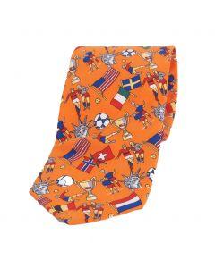 Oranje stropdas met voetbal thema print