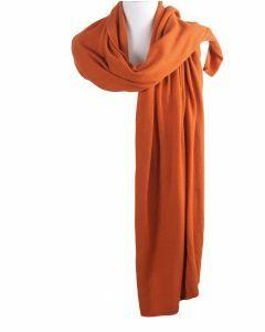 Kasjmier-blend sjaal/omslagdoek in oranje