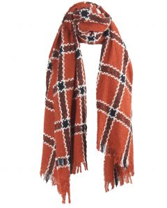Roest-oranje bouclé sjaal met ruitpatroon