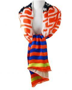 Satijn-zijden sjaal met geometrische patronen