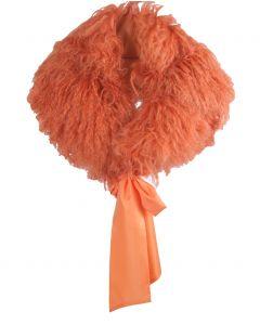 Oranje schapenvacht stola met lintsluitng