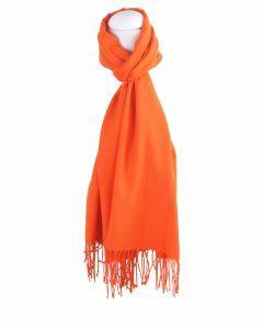 Effen oranje pashminasjaal, smal model