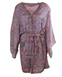 Korte zijden voile kimono