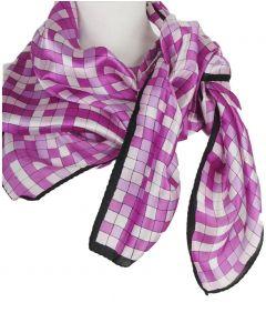Vierkante zijden sjaal in roze-paarse blokjes print