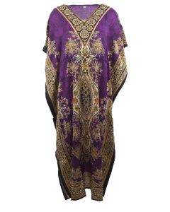 Kaftan in paars met mixed design en V-hals