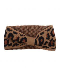 Haarband met panterprint in camel