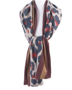 Ultra zachte sjaal met panterprint in rood en blauw