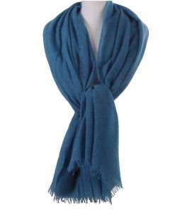 Hemelsblauwe stola/sjaal van 100% kasjmier