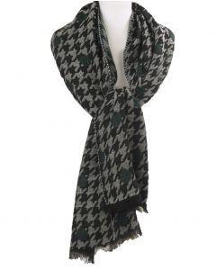 XL sjaal/omslagdoek met Pied-de-poule patroon in petrol
