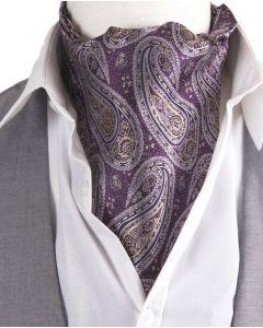 Paarse cravat + pochet met paisley print