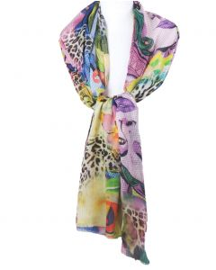 Kleurrijke sjaal met Pop Art en panterprint