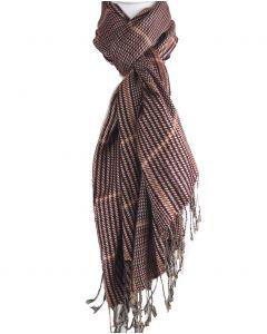 Rode pashmina sjaal met zwart en beige ruit