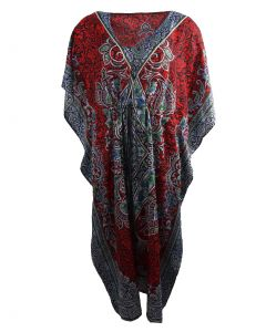 Rode kaftan met mixed design in blauw
