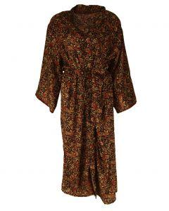 Lange zwarte zijden kimono met paisley print