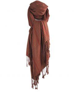 Oranje pashmina sjaal met bruine ruit