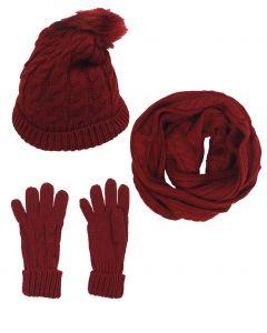 Set van muts, handschoenen en sjaal in wijnrood