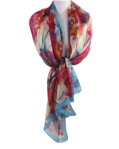 Zijden sjaal/stola met rozenprint