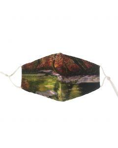 Katoenen verstelbaar mondkapje met herfst tuin print