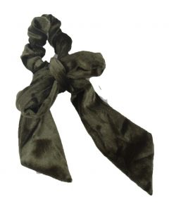 Velvet Scrunchie met strik in legergroen