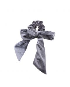 Velvet Scrunchie met strik in grijs