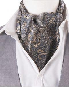 Grijze cravat met goud kleurige paisley print