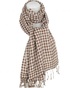 PLO-stijl sjaal met geweven ruitje in bruin-wit