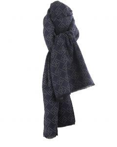 Zachte wol-blend sjaal in donkerblauw met ornament print