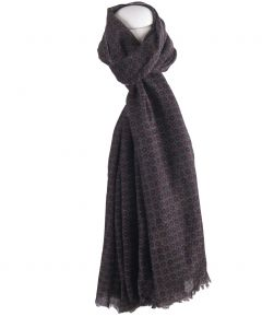 Grijze wol-zijde heren sjaal met stropdas printje