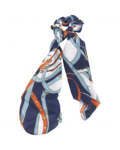Donkerblauwe riemenprint scrunchie met lint