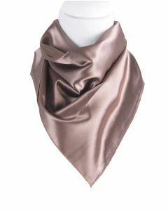 Vierkante satijnen sjaal in de kleur bruin-rosé
