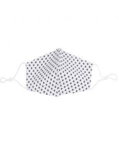 Verstelbaar wit mondkapje met sterrenprint