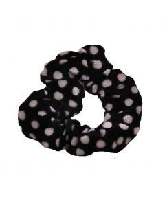 Velvet Scrunchie met stippen in zwart