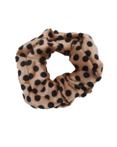 Velvet Scrunchie met in beige stippen