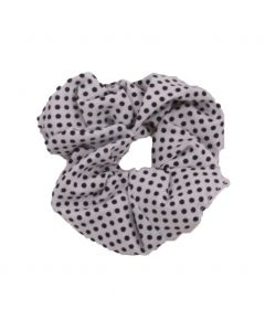 Velvet Scrunchie in wit met stippenprint