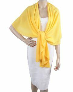 Gele soepelvallende cape stola