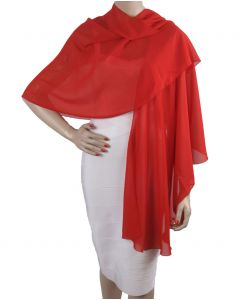 Rode soepelvallende cape stola