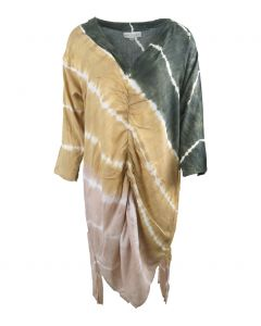 Legergroene lange tuniek met tye and dye