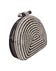 Zwarte halfronde box-clutch afgewerkt met strass