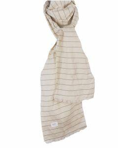Ecru gestreepte linnen sjaal