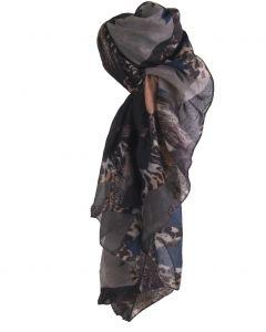 Grijze luchtige sjaal met diverse dierenprints