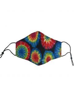 Verstelbaar katoenen mondkapje met tie-dye print