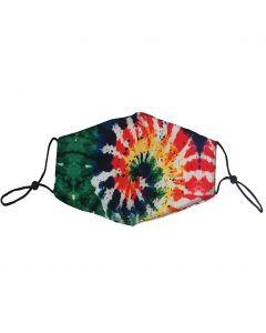 Verstelbaar katoenen mondkapje met tie-dye print in groen-rood