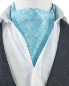 Turquoise Ascot Cravat choker met paisleydesign