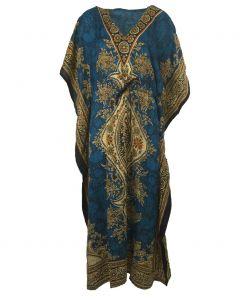 Kaftan in donker-turquoise met mixed design en V-hals
